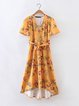 Island Ferry Yellow Plunging Neck Floral Dress with Belt