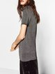 Striking Look Silver Short Sleeve Solid T-Shirt