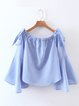 Wondrous Blue Bell Sleeve Stripes Bow Off Shoulder Top