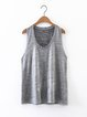 Bow Me Away Silver Scoop Neckline Solid Tank Top