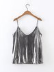 Bow Me Away Silver Basic Solid V Neck Cami Top