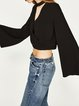 Whenever Wear-ever Black Choker Neck Bell Sleeve Crop Top