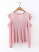 Daydreammer Pink Ribbed Cold Shoulder Top