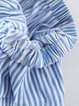 Rock With You Light Blue Ruffled Strapless Stripes Blouse