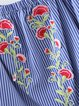 Make You Happy Blue Off Shoulder Embroidered Blouse