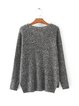 Knit a Chance Gray V Neck Melange Sweater