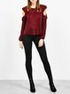 Now You See Me Burgundy Ribbed Cold Shoulder Top