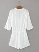 Name the Day White V Neck Pockets Romper