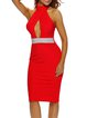 Effortlessly Alluring Red Cutout Beaded Halter Dress