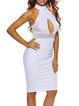 Effortlessly Alluring White Cutout Sleeveless Halter Dress