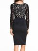 Perfect Contour Black Plunging Long Sleeve Lace Dress