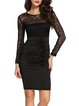 Luxury Explanation Black Ruched Appliqued Elegant Dress