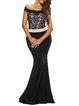 All Figured Black Off Shoulder Mermaid Dress