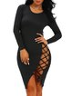 Show Up Black Bodycon Lace Up Dress