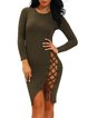 Shouw Up Army Green Lace Up Bodycon Dress