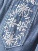 Praiseworthy Blue Embroidered Denim Tank Top