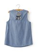 Praiseworthy Blue Embroidered Denim Tank Top