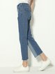 Love Song Blue Color-block Denim Pants
