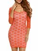 Show Off Orange Lace 3/4 Sleeve Cutout Dress