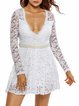 Gorgeous White Lace Elegant Plunging Neck Dress