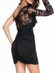 Hot Like Black Gathered One Shoulder Dress