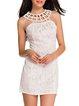 Never Sleep White Beaded Caged Neck Lace Dress