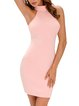 Long Haul Pink Lace Up Backless Halter Dress