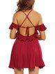 Put You On Burgundy Backless Cold Shoulder Dress