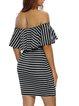In The Bag Sheath Off Shoulder Stripes Dress