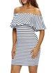 In The Bag White Off Shoulder Stripes Dress