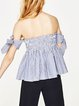 Blissful Utopia Blue Stripes Cute Off Shoulder Top