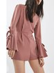 Witchcraft Pink Bell Sleeve Solid V Neck Romper
