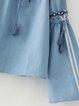 Stranger Things Blue Bell Sleeve Denim Off Shoulder Top