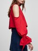 Just Watch Me Red Solid Cold Shoulder Top