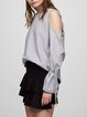 Just Watch Me Gray Solid Cold Shoulder Top
