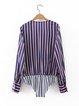 Undefeated Purple Stripes V Neck Bodysuit