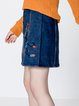 Greece Fantasy Blue Embroidered Denim Skirt