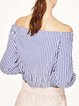 Say Nothing Blue Stripes Off Shoulder Crop Top