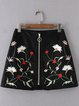 Digging It Black Zipper Embroidered Skirt