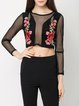 Groove On Black Embroidered Mesh Crop Top