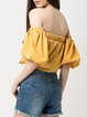 Lasting Affair Mustard Balloon Sleeve Solid Crop Top