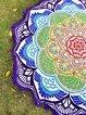 Lotuses By The Sea Purple Round Blanket
