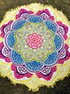 Lotuses By The Sea Yellow Round Blanket