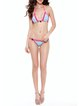 Lace Adorn Blue Color-block Wireless Bikini