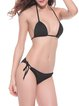 Sunset Sea Black Solid Halter Wireless Bikini