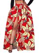 Must Have Red Slit Printed Maxi Skirt