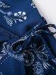 Beach Explorer Blue Cold Shoulder Printed Wrap Dress