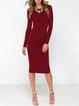 Crazy Night Out Burgundy Solid Slit Backless Dress