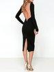Crazy Night Out Black Backless Slit Dress
