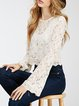Desire Lines White Bell Sleeve Lace Crop Top
